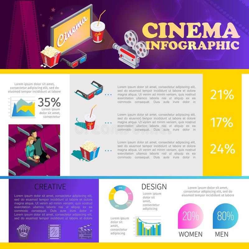 Isometric Cinematography Infographic Template stock illustration