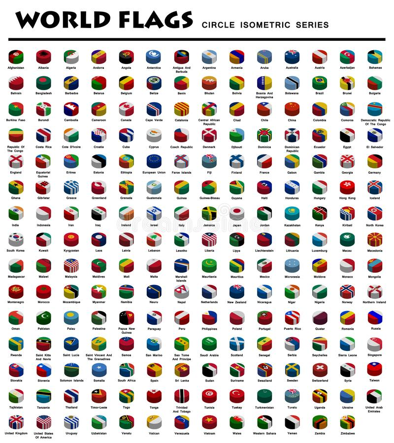 Isometric Circle Flags Of World vector illustration