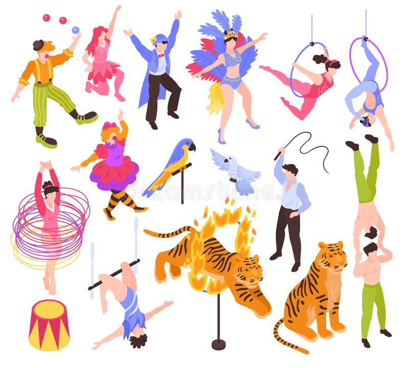 Circus Performers Isometric Set vector illustration