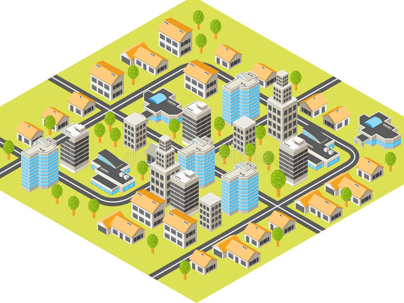 Isometric city. With downtown and suburbs, buildings and roads
