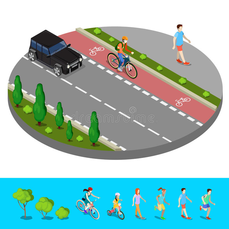 Isometric City. Bike Path with Bicyclist. Footpath with Walking Man stock illustration
