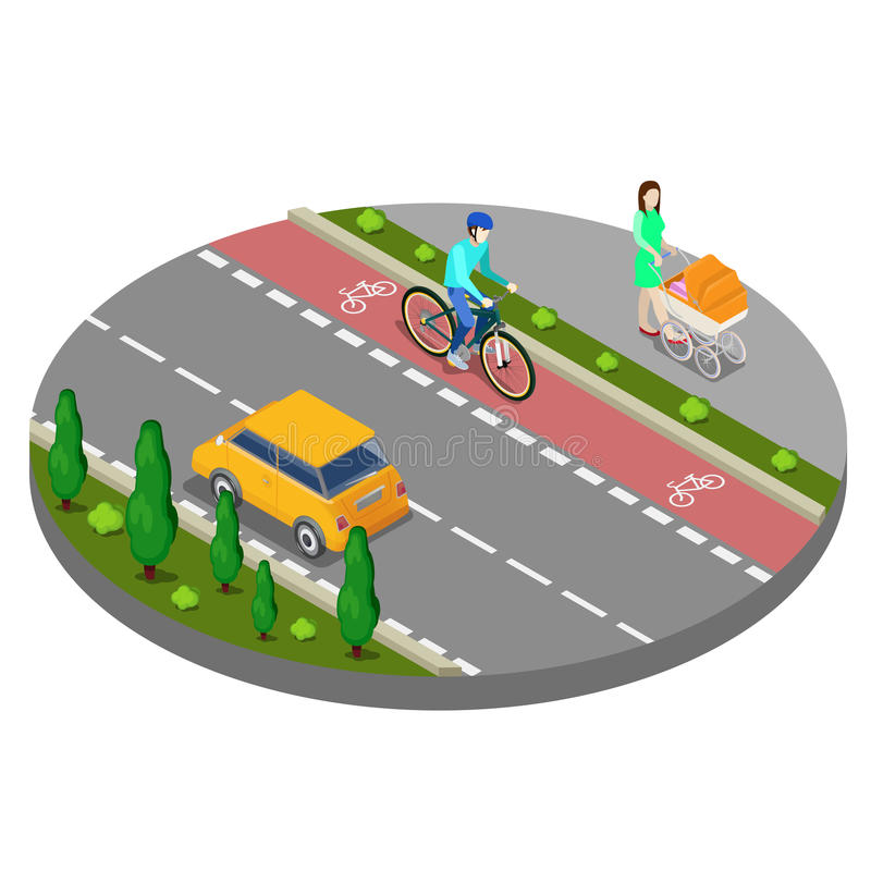 Isometric City. Bike Path with Bicyclist. Footpath with Woman vector illustration