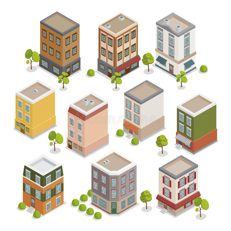Isometric City Buildings Set with Trees royalty free illustration