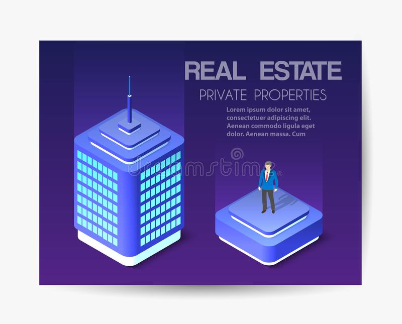 Isometric city business card. Template of violet colors 3d building modern town street, urban road architecture. Ultraviolet illustration map of isometry for stock illustration
