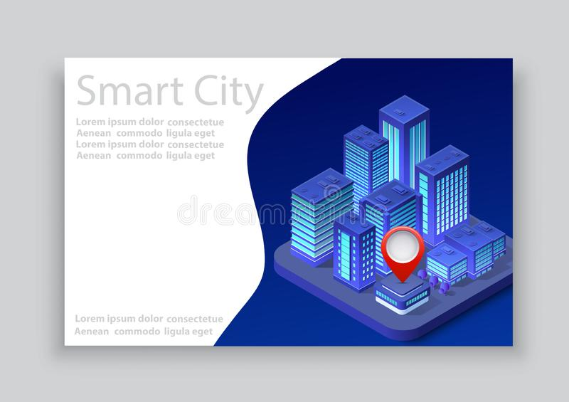 Isometric city business card. Template of violet colors 3d building modern town street, urban road architecture. Ultraviolet illustration map of isometry for royalty free illustration