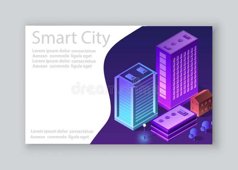 Isometric city business card. Template of violet colors 3d building modern town street, urban road architecture. Ultraviolet illustration map of isometry for vector illustration
