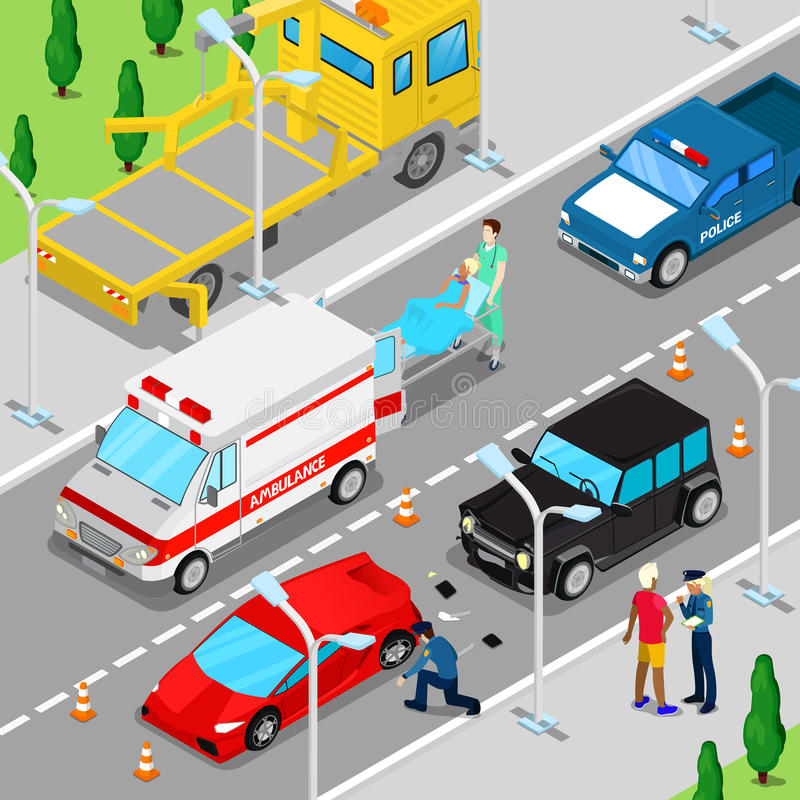 Isometric City Car Accident with Ambulance, Tow Truck and Police Vehicle stock illustration