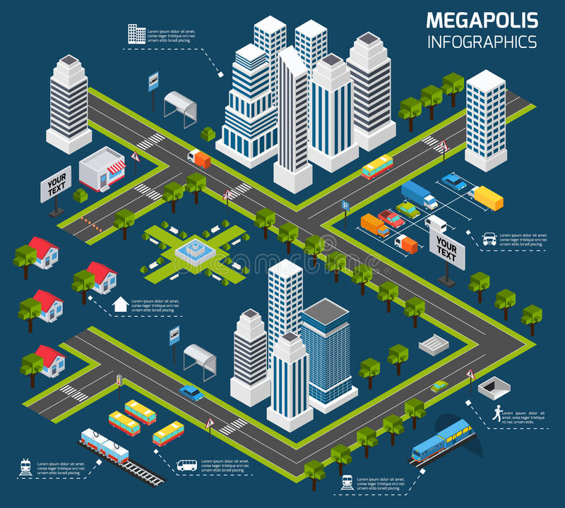 Isometric City Concept royalty free illustration