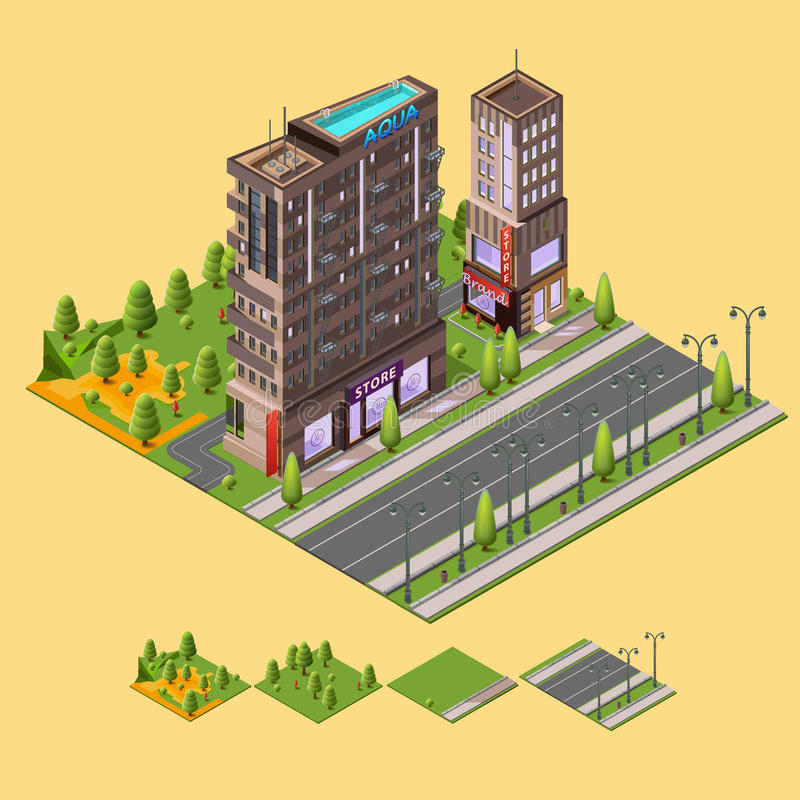Isometric city concept. 3D vector illustration with buildings and a rooftop swimming pool, cafes, store and park around the residential buildings stock illustration