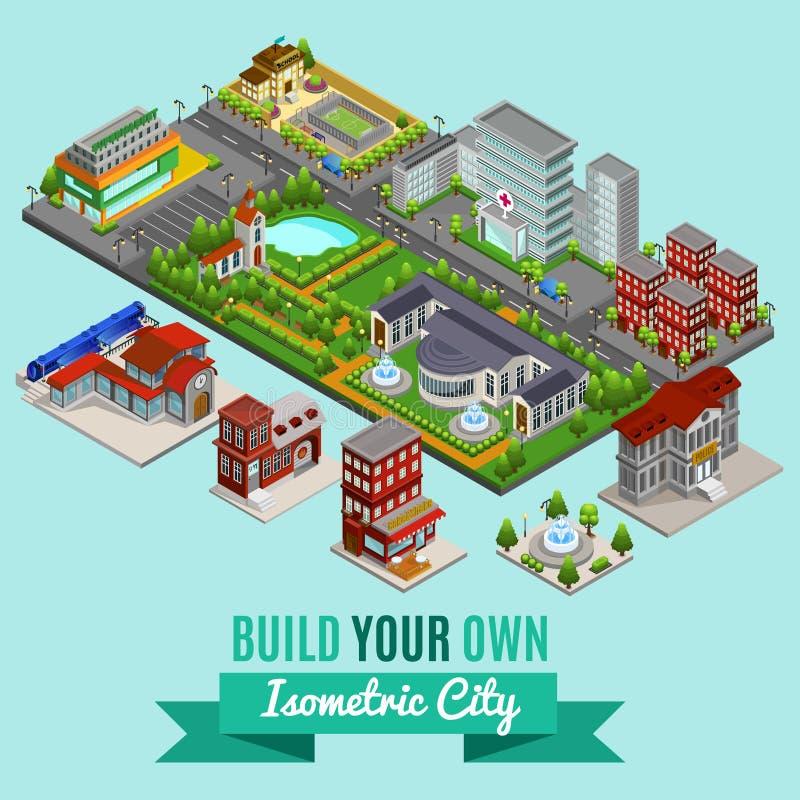 Isometric City Creation Concept royalty free illustration