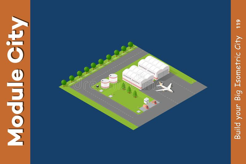 Airport Building Runway Plane Flat 3d Web Isometric Concept Stock
