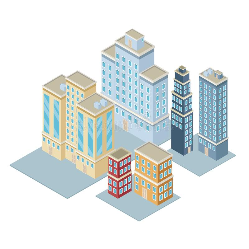 Isometric city 3d. Icon illustration graphic design royalty free stock images