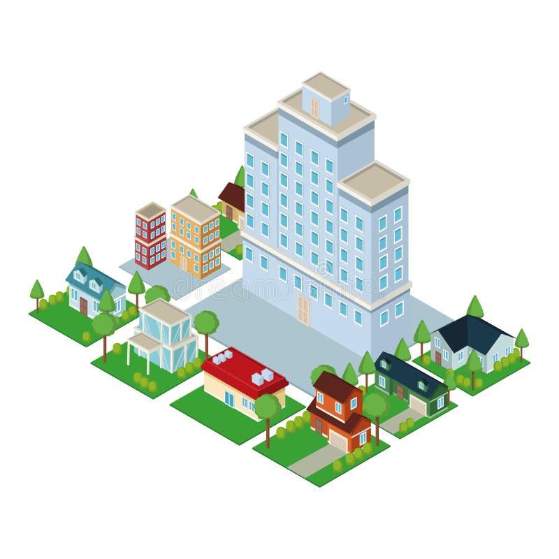 Isometric city 3d. Icon illustration graphic design stock illustration