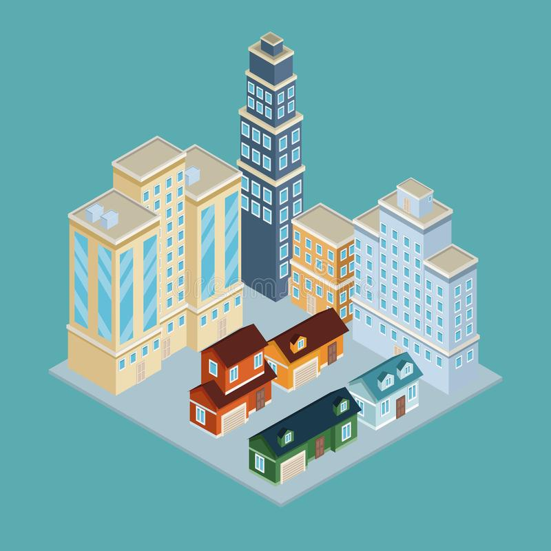 Isometric city 3d. On blue background illustration graphic royalty free stock photo