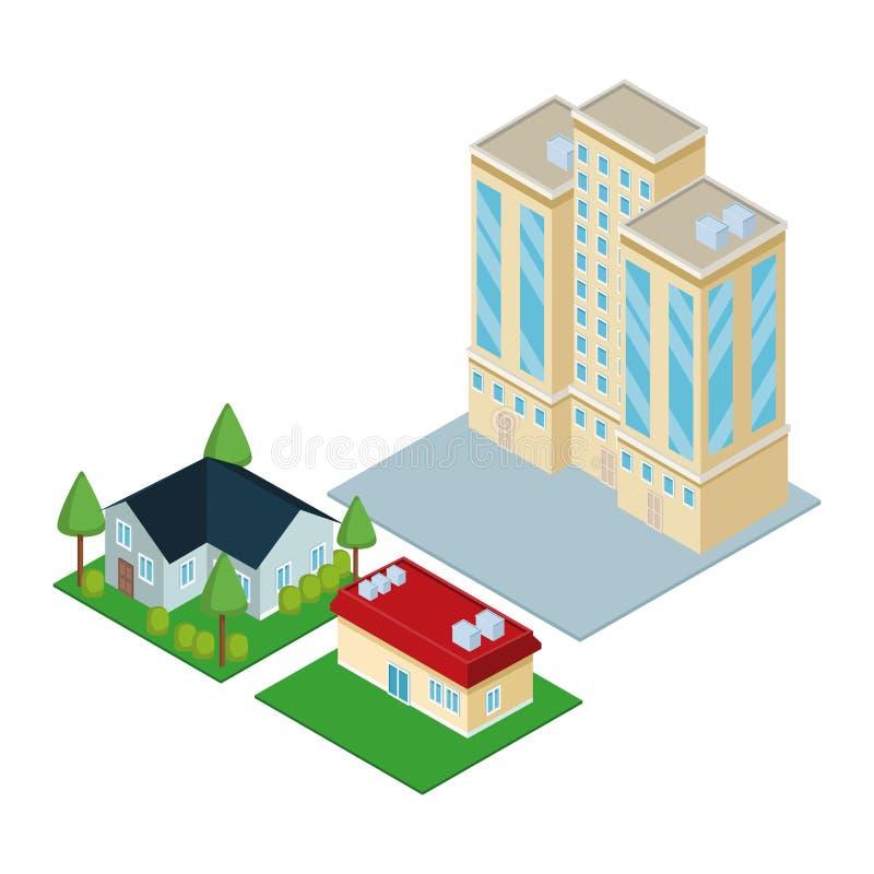 Isometric city 3d. Icon illustration graphic design royalty free illustration