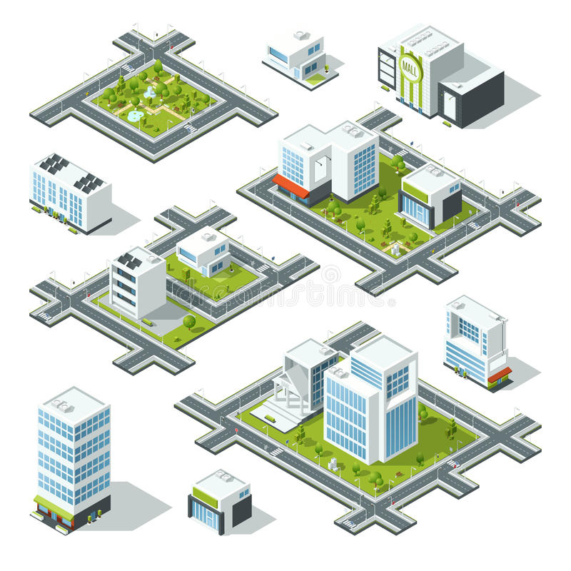 Isometric city 3d vector illustration with office buildings, skyscrapers. Trees and bushes on the street royalty free illustration