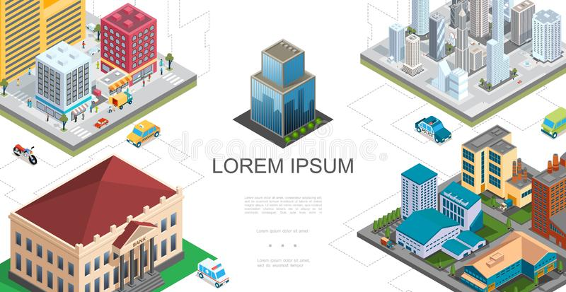 Isometric City Landscape Composition royalty free illustration