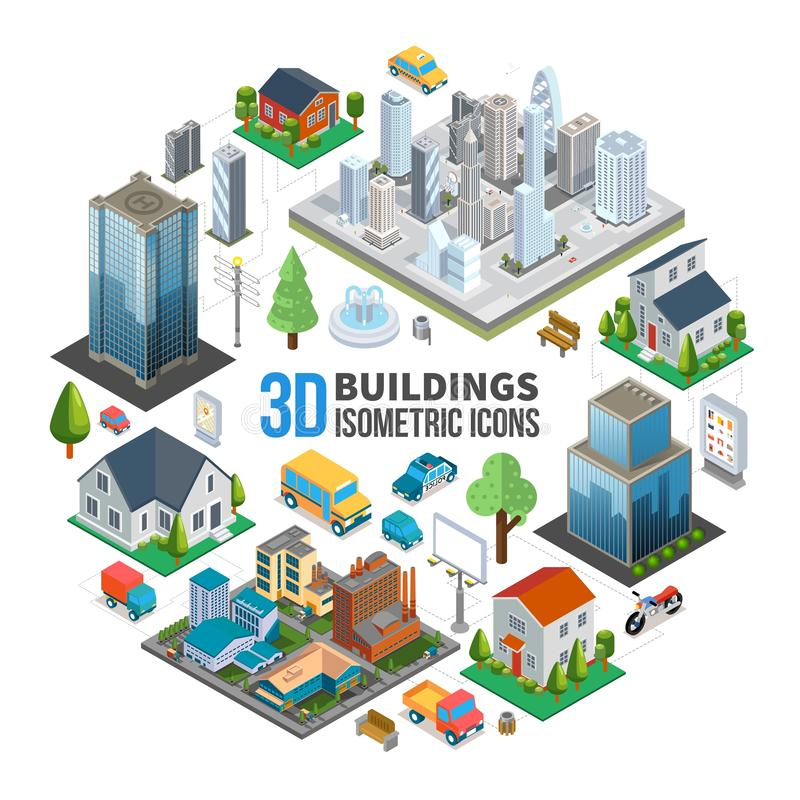 Isometric City Landscape Round Concept. With modern buildings skyscrapers estates transport benches trees trash fountain vector illustration royalty free illustration