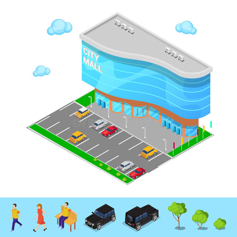 Isometric City Mall. Modern Shopping Center Building with Parking Zone. Vector royalty free illustration