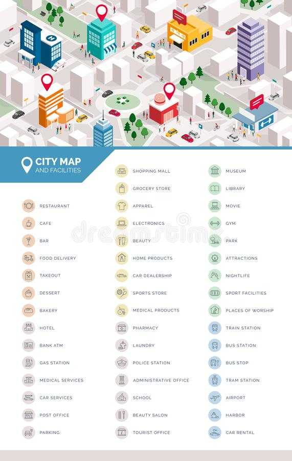 Free Isometric City Map And Services And Facilities Icons Set Royalty Free Stock Photo - 168376495