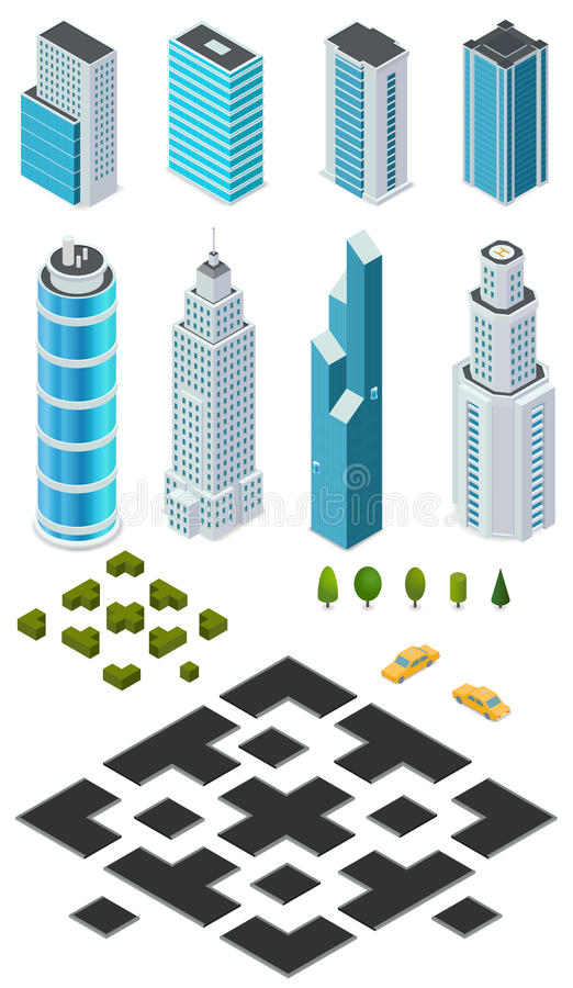 Isometric city map creation kit with buildings, roads, trees, bushes and car. stock illustration
