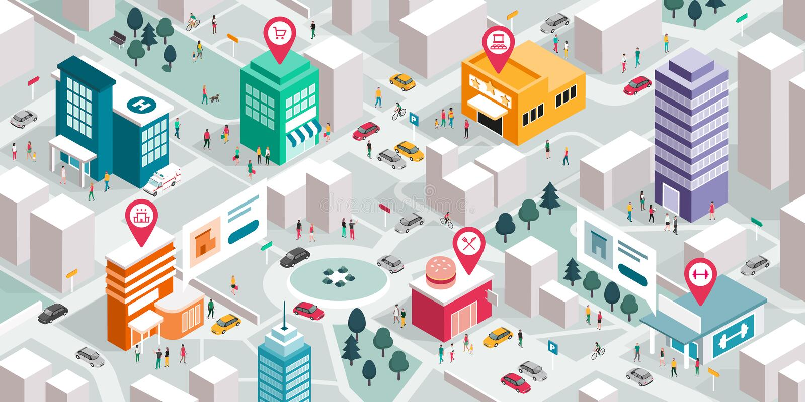 Isometric city map with people, buildings and pin pointers. Promote your local business and GPS navigation concept stock illustration