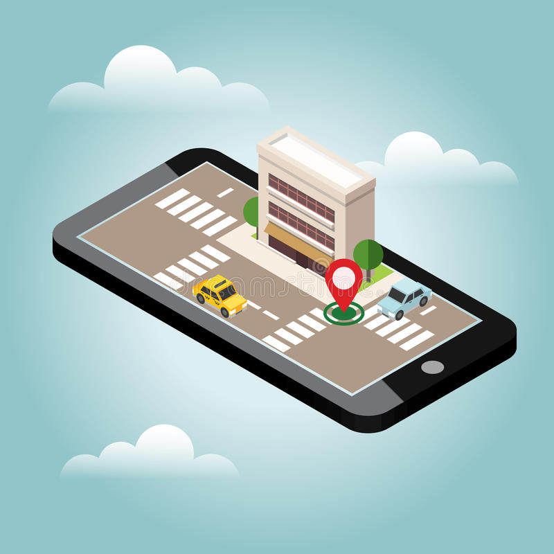 Isometric city. Mobile geo tracking. Map. City building and traffic. Geo positioning. Navigator stock illustration