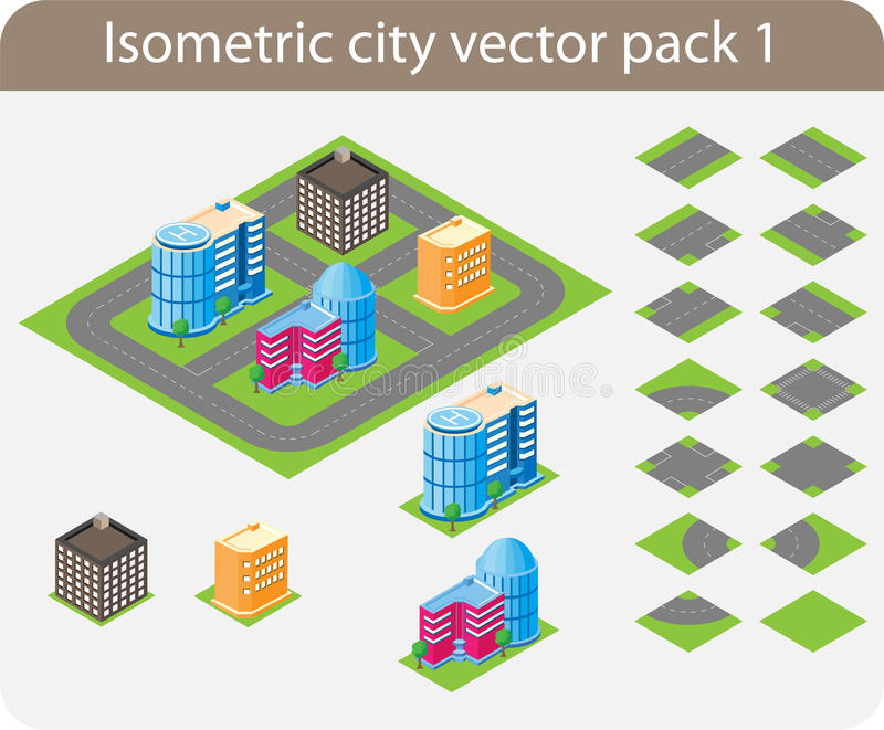isometric city pack 1 stock vector illustration of downtown 23331828. Black Bedroom Furniture Sets. Home Design Ideas