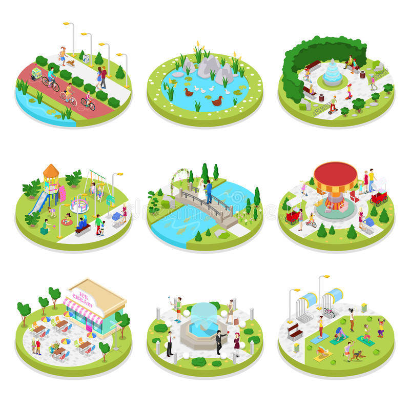 Isometric City Park Composition with Walking People. Outdoor Activity. Family on the Walk stock illustration