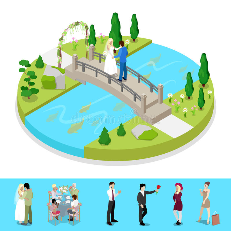Isometric City Park Composition with Wedding Couple. Outdoor Activity. Vector flat 3d illustration royalty free illustration
