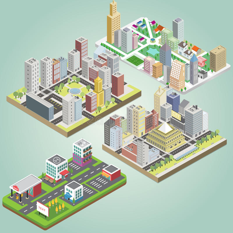 Isometric city set royalty free illustration