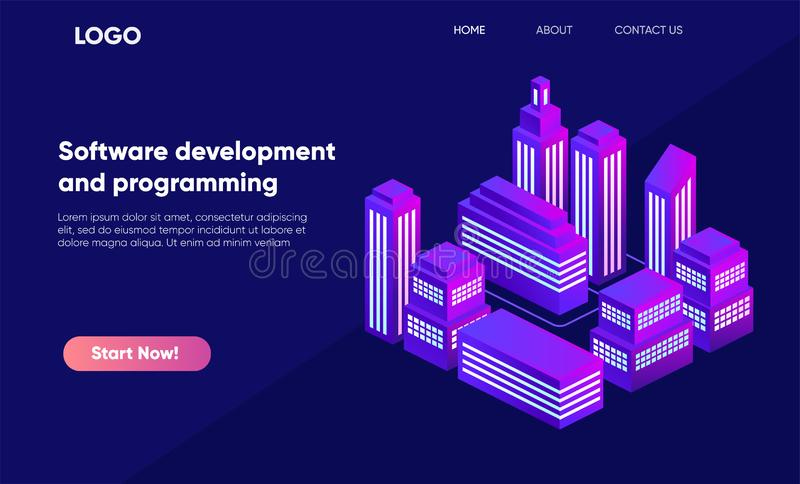 Isometric city in violet colors, 3d buildings, modern town street, urban road architecture. Ultraviolet illustration of isometry stock illustration