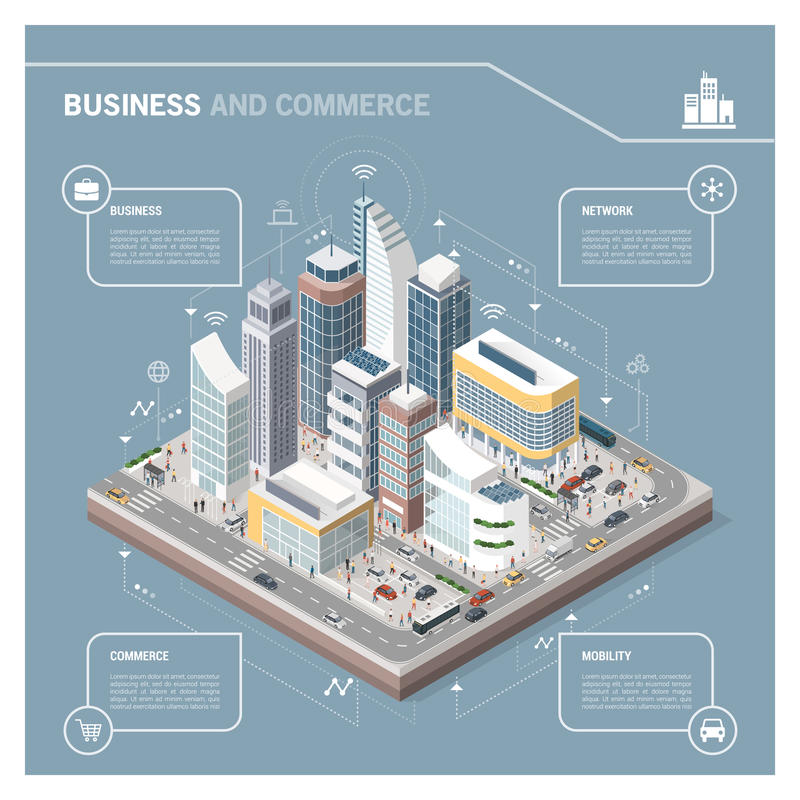 Isometric city with skyscrapers infographic vector illustration