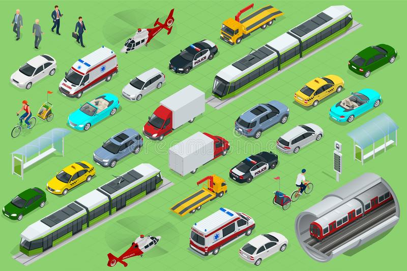 Isometric city transport with front and rear views. Trolley, plane, helicopter, bicycle, sedan, van, cargo truck, off. Road, bike, mini. Urban public and royalty free illustration