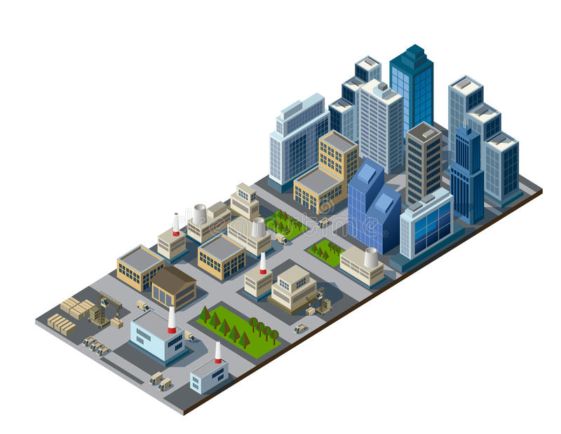 Isometric city royalty free illustration