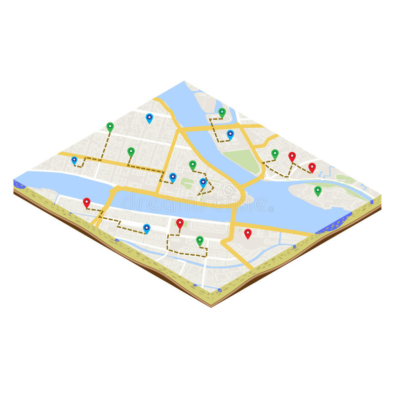 A isometric citymap and urban mobile navigation vector illustration. A isometric citymap of an imaginary city with destinations between districts. Urban mobile royalty free illustration