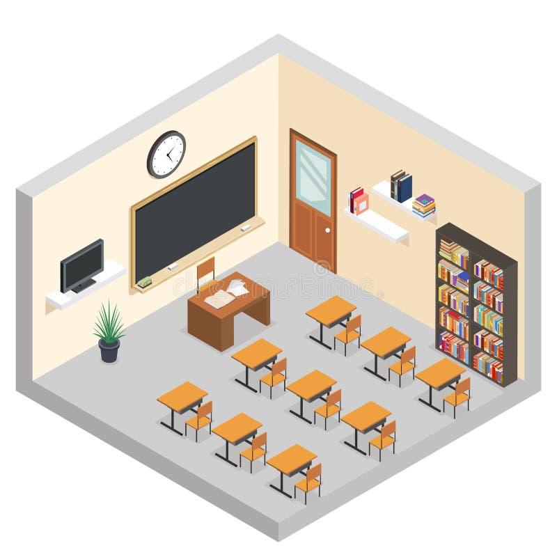 Isometric classroom education room teaching courses school table equipment flat design vector illustration stock illustration