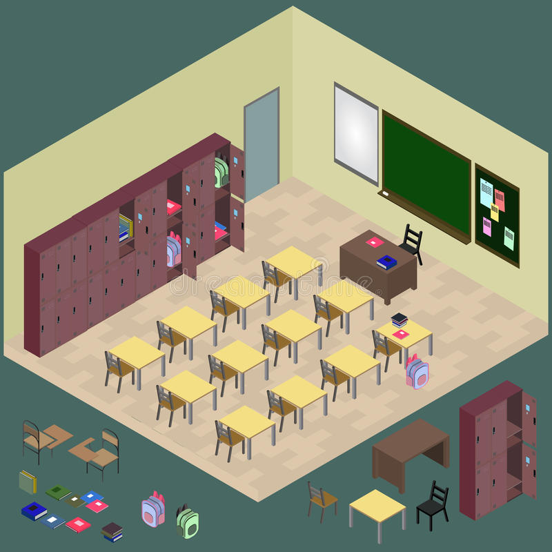 Isometric classroom with object: desk, blackboard, table, chair,. Wardrobe, bag in vector stock illustration