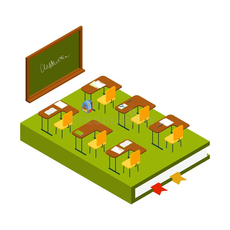 Isometric classroom vector. School room with chalkboard, class desks and chairs 3D illustration vector illustration