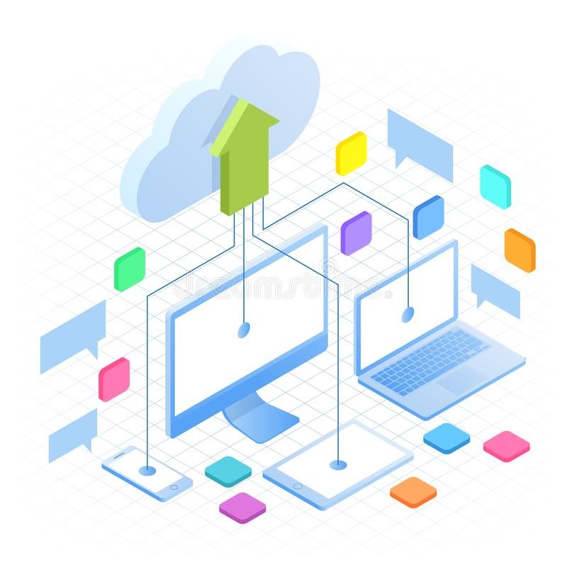 Isometric Cloud Computing Concept in outline isolated on white. Cloud computing services and technology, data storage stock illustration