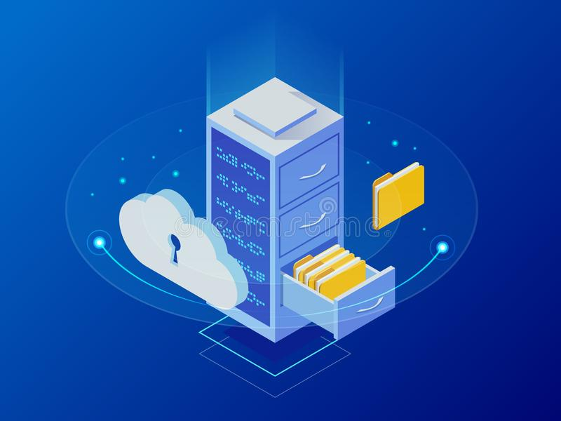Isometric cloud computing concept represented by a server, with a cloud representation hologram concept. Data center royalty free illustration