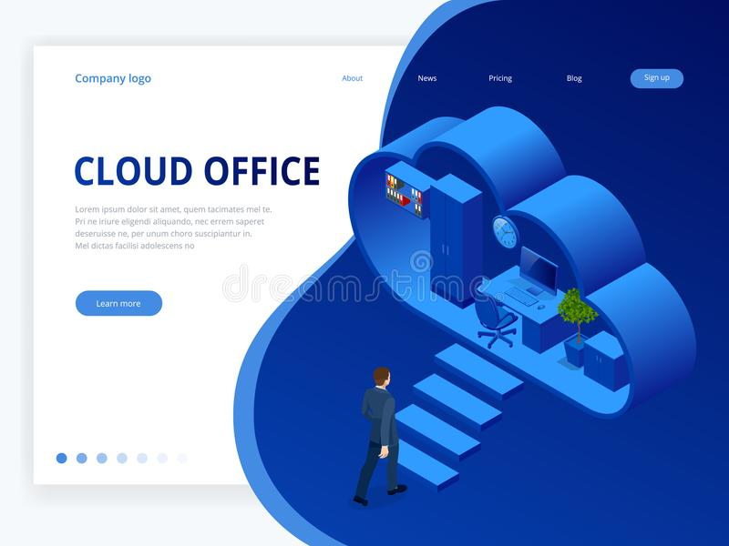 Isometric cloud office with people concept. Web banner for data processing in the cloud. Cloud storage, data transfers royalty free illustration
