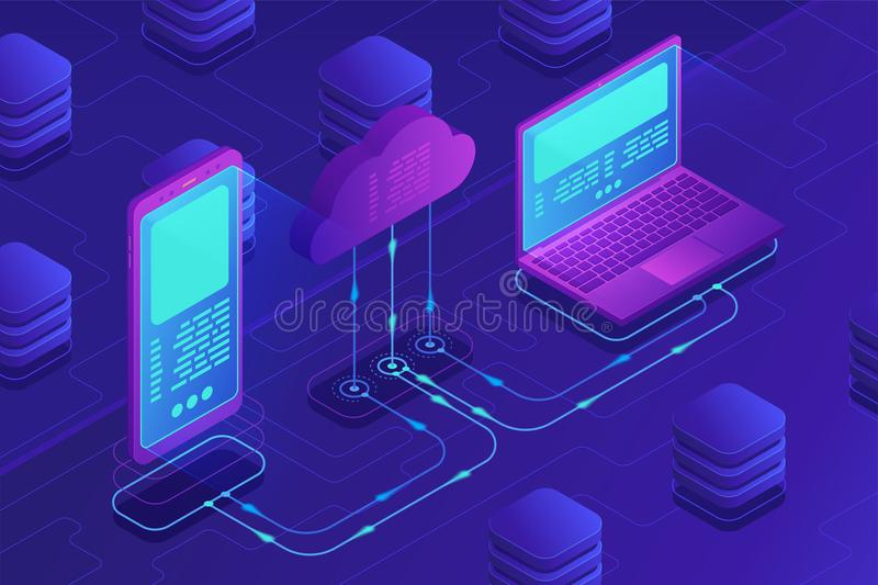Isometric cloud storage concept. stock illustration