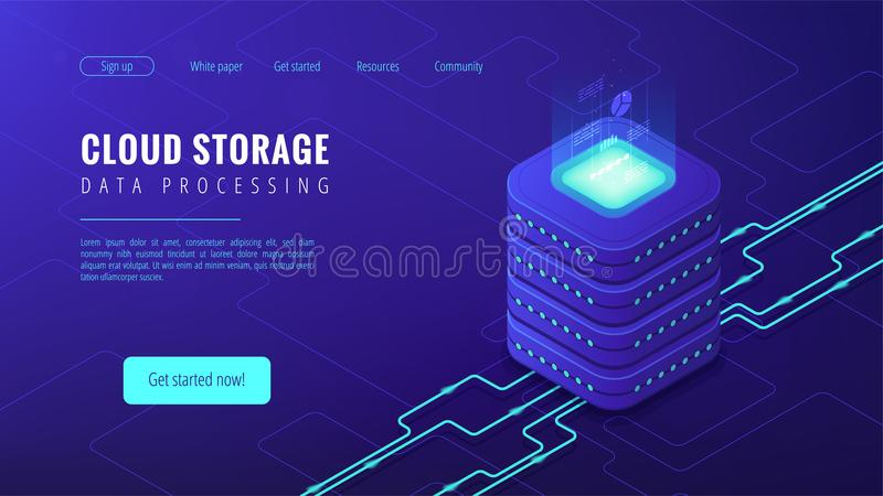 Isometric cloud storage landing page concept. Isometric cloud storage data processing landing page concept. Collection and manipulation, recording, organisation stock illustration