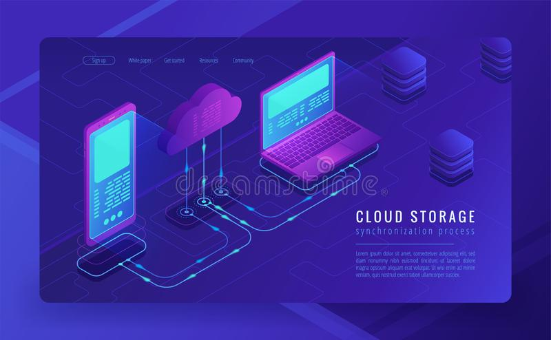 Isometric cloud storage landing page concept. royalty free illustration