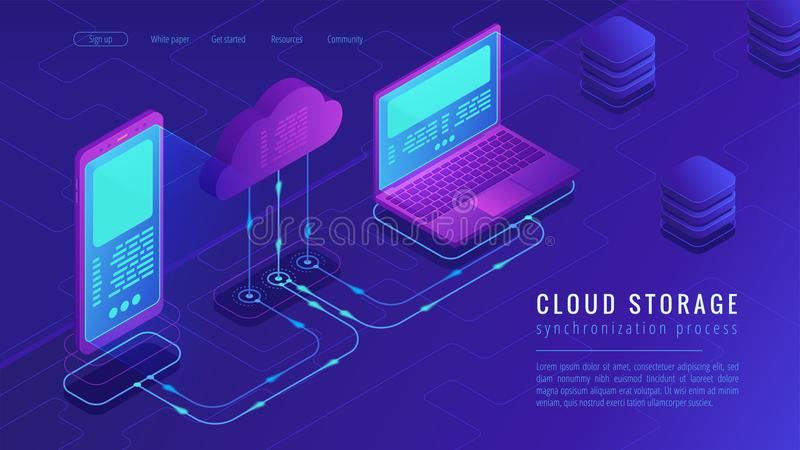 Isometric cloud storage landing page concept. vector illustration