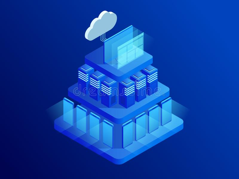 Isometric cloud technologies networking concept. Web cloud technology business. Internet data services. Computing online vector illustration