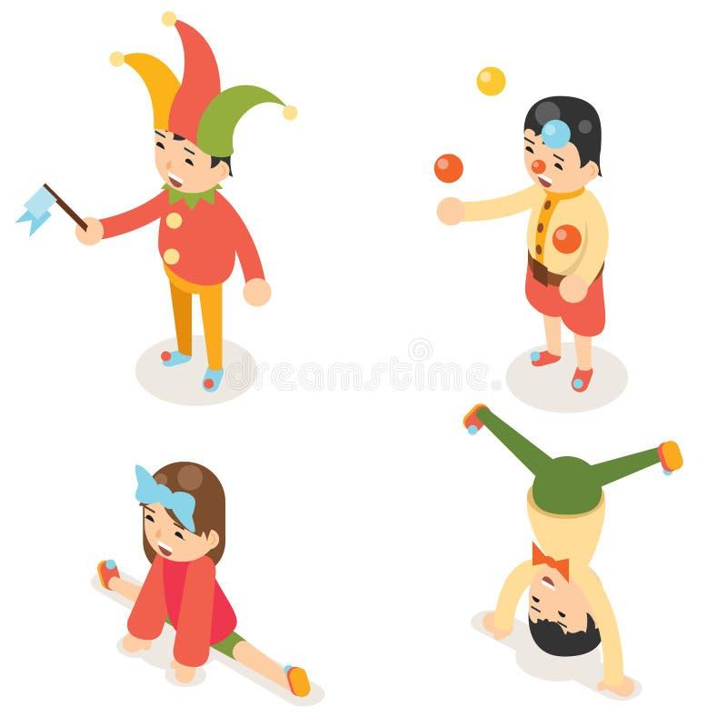 Isometric clown joke fun boys girls characters icon set isolated flat design vector illustration royalty free illustration