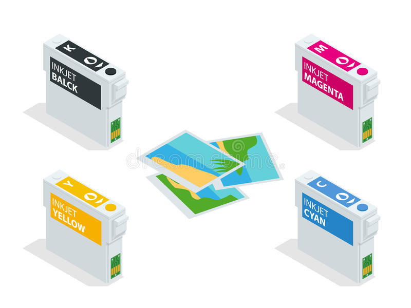 Isometric CMYK set of cartridges for ink jet printer and color chart. Empty refillable cartridges for colour inkjet royalty free illustration