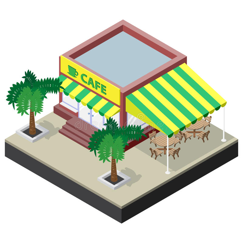 Isometric coffee shop with tables, chairs and palm trees vector illustration